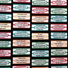 Arnold's Diner Retro Jukebox Song Title Labels Cotton Fabric Fat Quarter