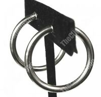 CLIP ON 3cm BIG SILVER 3mm thick hoops HOOP EARRINGS look like pierced NO HOLE