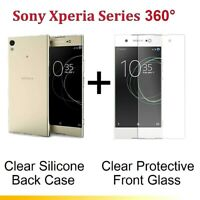 Front + Back CLEAR Tempered Glass Screen Protect Case for Sony Xperia XA1 Ultra