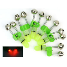 6X Cascabel Doble con Indicador LED Luz Roja Alarma Campanas para Caña de Pesca