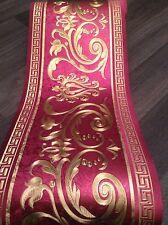 wunderschöne Barock Bordüre Wein Rot Gold 5m lang 17,7 cm breit