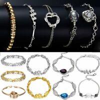 Trendy Women Stainless Steel Rhinestone Chain Bracelet Bangle Crystal Jewelry