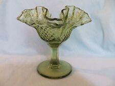 "GREEN PEDESTAL DEPRESSION  VINTAGE GLASS CANDY BOWL 5 1/4""  W/ RUFFED EDGES"