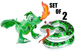"""(Set of 2)  30'' Dragon & 60"""" Coil Snake Inflatable Inflate Toy Party Decoration"""