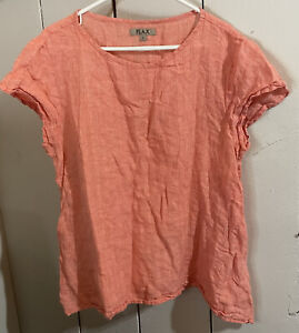 FLAX Large 100% Linen Tunic Shirt Boxy Coral Short Sleeve Lagenlook