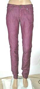 Jeans Donna Pantaloni MET Made in Italy C748 Gamba Dritta Viola Tg 27
