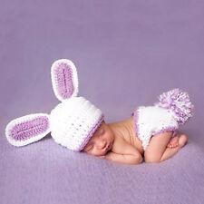 Newborn baby boy girls Rabbit outfits Crochet knit Photography Prop Costume