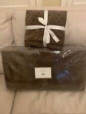 Nwt Pottery Barn Washed Velvet Silk Blend Fq quilt full queen mocha f/q W/1 Euro