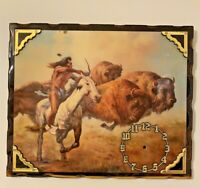 Vintage Wood Wall Art Man Chasing Buffalo Bow Arrow Old West No Clock