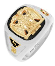 New Customizable Solid Back Men's Two Tone Silver Gold Scottish Rite Mason Ring