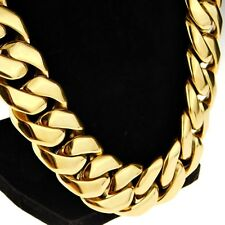 """Huge Cuban Chain 25MM Wide 316L Stainless Steel Gold Finish 28"""" Hip Hop Necklace"""