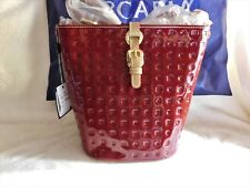 Arcadia Italian Belted Bucket Crossbody Marsala Red & Natural Patent Leather NWT