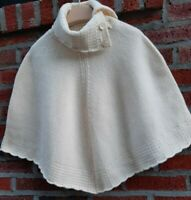 New GAP High Neck Flex w Buttons Poncho Pullover Cape 100% NATURAL WOOL Ivory