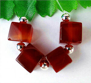 8mm 4Pcs Brown Red Stripes Onyx Agate Cube Height Hole Pendant Bead BV13427