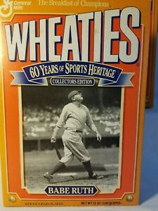 1992 BABE RUTH YANKEES  HOF  WHEATIES BOX  TOP INTACT  NICE SHAPE