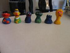 Vintage Rubber Finger Sesame Puppets Lot 6 Ernie Bert Big Bird Oscar Cookie Grov