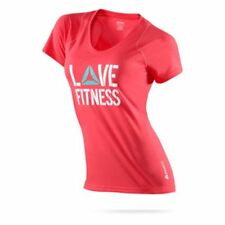 Reebok 'Love Fitness' Play Dry Workout Tee T-Shirt Red (Size M Medium)
