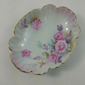 Lefton China Roses Gold Scalloped Trim Candy Nut Dish 6577 Hand Painted