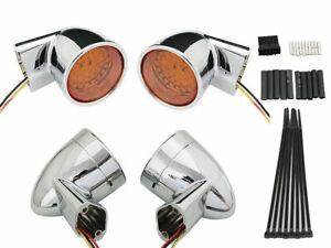 Chrome Revox Bullet Style LED Turn Signal Lamp Kit for Harley Davidson by V-Twin