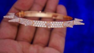 Mens 12.80 Carat Iced Out Diamonds Spike Bracelet 1100 Diamonds 10k Pink Gold