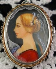Delicate Miniature Portrait Painting .800 Silver Setting Brooch Pin / Pendant