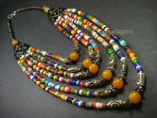 N4188 Tribal amber Resin Bovine Bone Runway multicolor Strand Handcraft NECKLACE