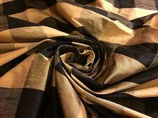 "Black/Gold 2""X2"" Checks 100% Dupioni Silk Fabric 48"" Wide By The Yard"