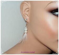 boucles d'oreilles perles et plumes blanches,mariage