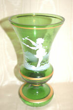 Antique Vintage Mary Gregory Green Vase with Gold Trim - Excellent Condition!