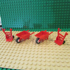 LEGO Lot of 4 City red Car truck wheel barrows & dolly 2495 mechanic gas station