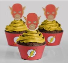THE FLASH SUPERHERO DC COMICS CUPCAKE WRAPPERS & TOPPERS PACK OF 12
