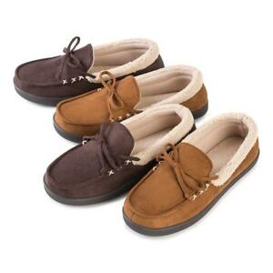 Isotoner Men's Suedette Moccasin with Sherpa Cuff