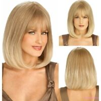 Blonde Women Bob Remy Hair Straight Full Synthetic Wigs Daily Wear Bangs
