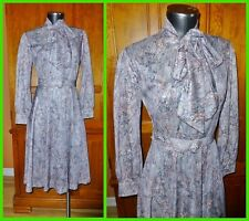 Vtg 70s ASCOT Bow Tie DRESS Silky Jersey Boho Secretary Floral Fit Flare belted