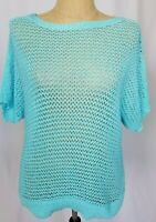 Chicos Open Knit Sweater Size 2 Large Blue Aqua Short Sleeve Lagenlook NWT