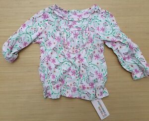 PRIMARK Young Dimension Baby Girls 100% Cotton Pink Blouse Top Sleeves 9-12 Mths