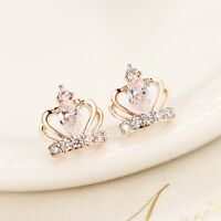 Lady 925 Sterling Silver Cute Crystal Crown Stud Earrings Elegant Gift Jewelry