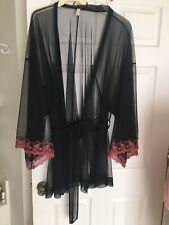 Vintage Sheer Black Net Cacique Robe Women's Sz 26/28 Coral Lace
