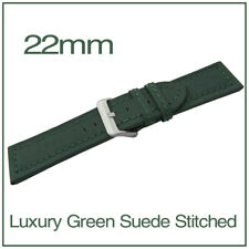 22mm Green Chunky Genuine Leather Suede Stitched Watch Strap + FREE Spring Bars