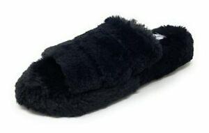 Womens Slippers Open Toe Faux Fur Warm Fuzzy Three Band Slide Sandals Black NIB