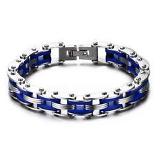 Motorbike Bicycle Bike Chain Link Gear Men Bracelet Gift Blue Silicone Rock Punk
