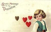 C.1910 Clapsaddle Cute Child Broken Heart Valentine Postcard P35