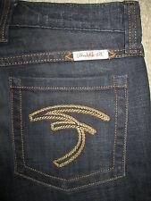 FRANKIE B Flare Stretch Dark Blue Denim Jeans Womens Size 0 x 33.5 USA