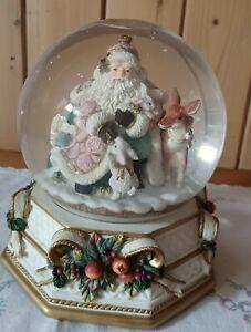 "Vintage Large Fitz & Floyd ""Snowy Woods"" Musical Christmas Snow Globe."