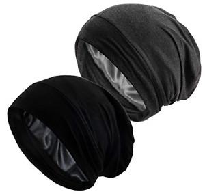 EINSKEY Satin Cap, 2-Pack Bamboo Fiber Sleep Cap Silk Lined Slouch Beanie Hat &