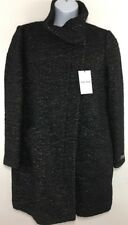Womens Cole Haan Pea Coat Wool Blend Italian Fabric Size 14 Grey Black