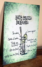 Retro Long Island IcedTea cocktail recipe A5 metal sign house gift idea vintage