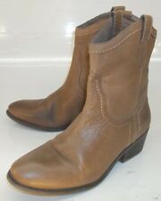 Guess GENNETTE Wos US 7 M Brown Leather Side-Zip Ankle Boots Rockabilly Western