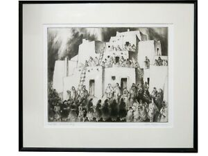 """Gene Kloss - """"Corn Dancers Coming"""" - Dry Point Etching Artist's Proof 1975"""