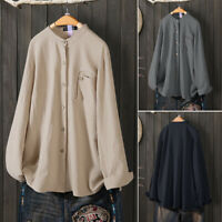Womens Long Sleeve Cotton Linen Solid Shirt Cardigan Top Tunic Baggy Blouse Plus